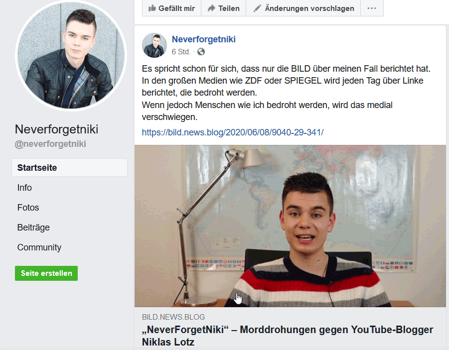 Warnung vor NeverForgetNiki - Morddrohung Fake-News und Datenausspähung - Niklas Lotz