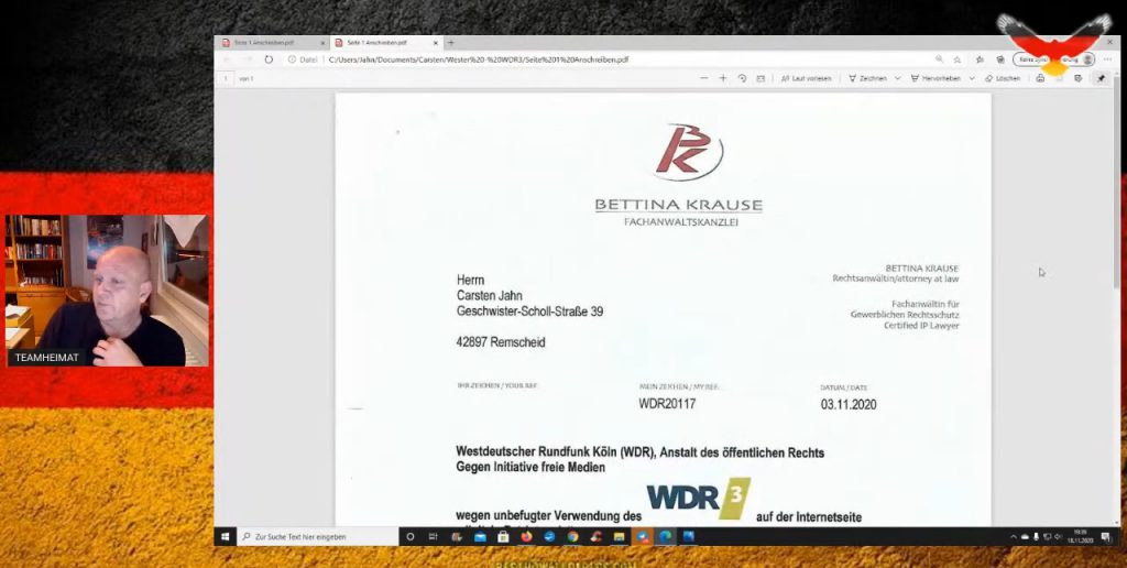 WDR Lügenpresse schickt Carsten Jahn Abmahnung - Anwalt Anwältin Bettina Krause